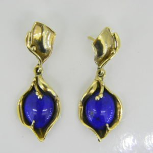 Lapis lazuli 9ct gold drop earrings