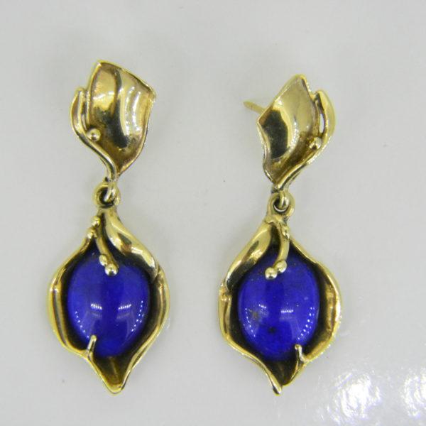 Lapis lazuli 9ct gold drop earrings
