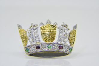 Naval crown brooch