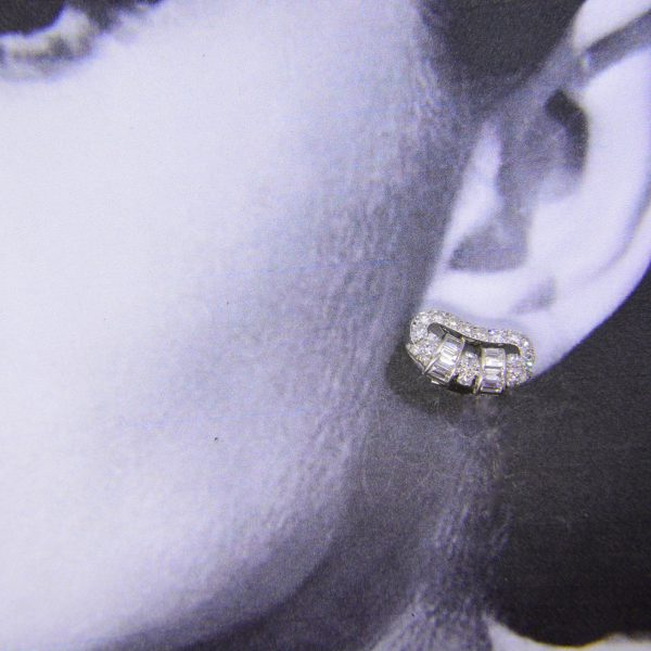 1930s diamond ear-clips