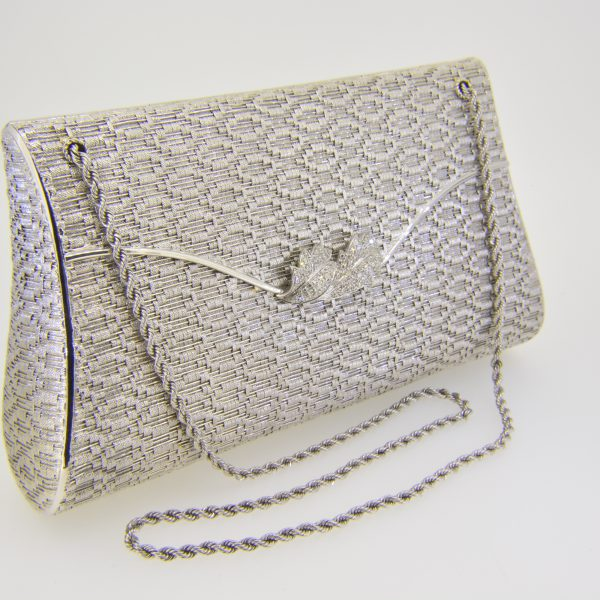 18ct white gold and diamond clutch bag
