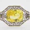 Yellow sapphire & diamond brooch
