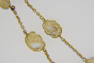 Baroque pearl necklace - Edwardian gold-caged pearls