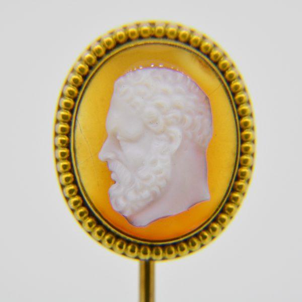 Agate cameo stick pin
