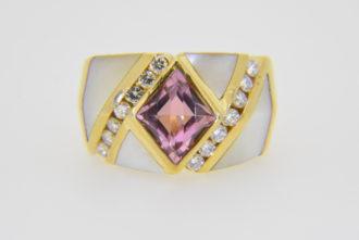 Kabana 14k pink tourmaline diamond ring
