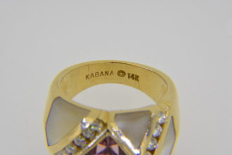 Kabana 14k pink tourmaline diamond ring