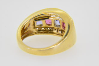 Kabana 14K Tanzanite pink tourmaline diamond ring