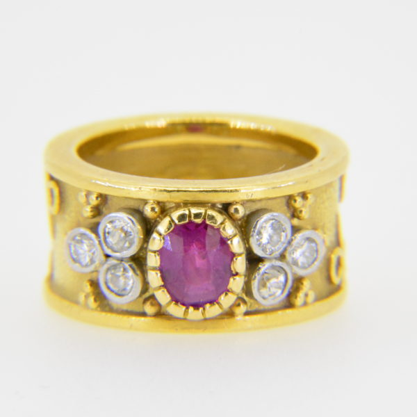 Ruby diamond 'Templar' ring in Elizabeth Gage Style