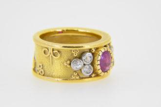 Ruby diamond 'Templar' ring in Elizabeth Gage Style