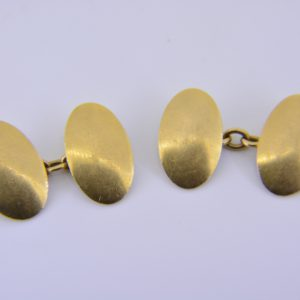 Pair 18ct gold oval panel cuff links