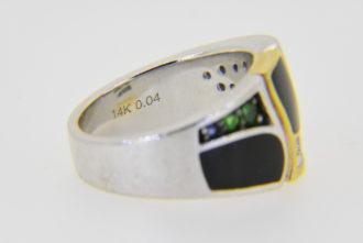 John Bagley ring with onyx garnet sapphire diamond