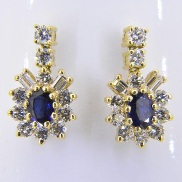 sapphire diamond oval cluster earrings