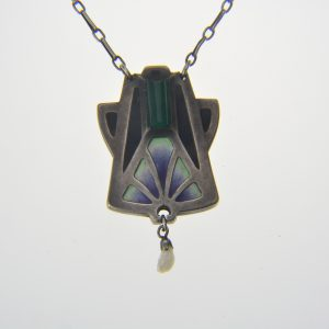 Early 20th century enamelled silver pendant