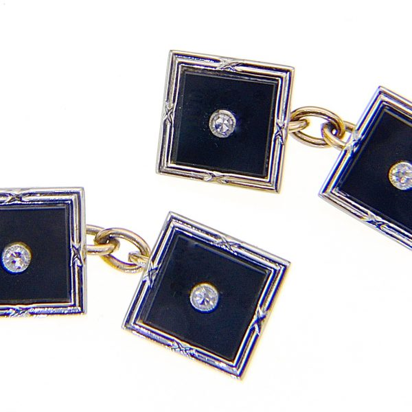 Pair art deco onyx diamond cuff links