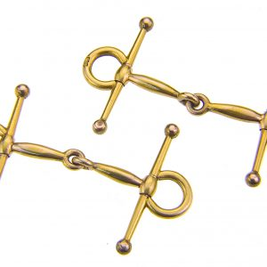 18ct gold snaffle bit cuff-links