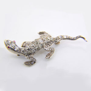 Victorian diamond lizard brooch