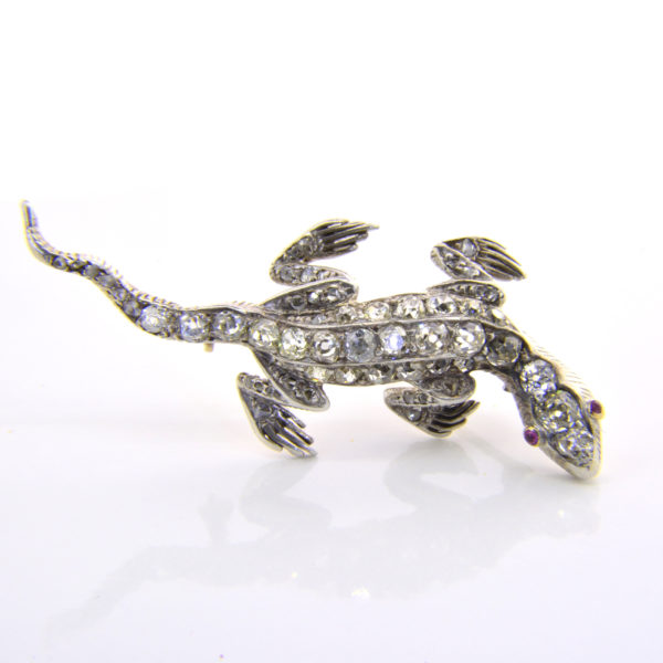 Victorian diamond lizard brooch