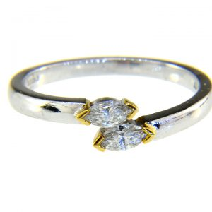 marquise diamond crossover ring