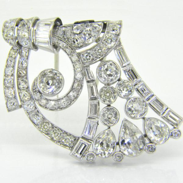 Diamond clip brooch