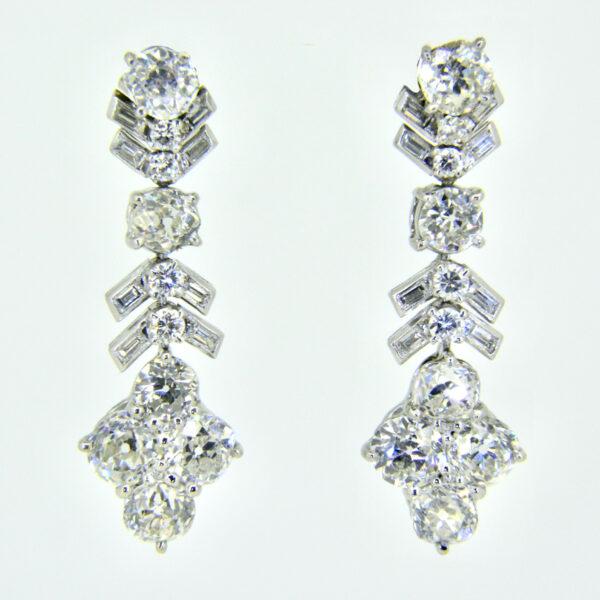 platinum and 10ct diamond pendant earrings