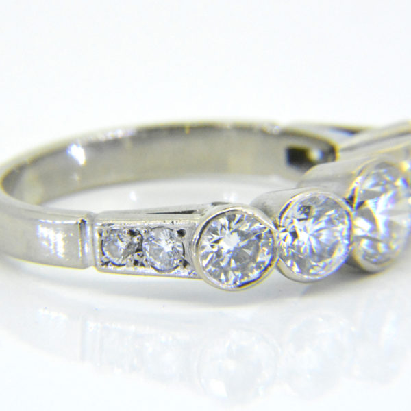 Diamond five stone ring side view