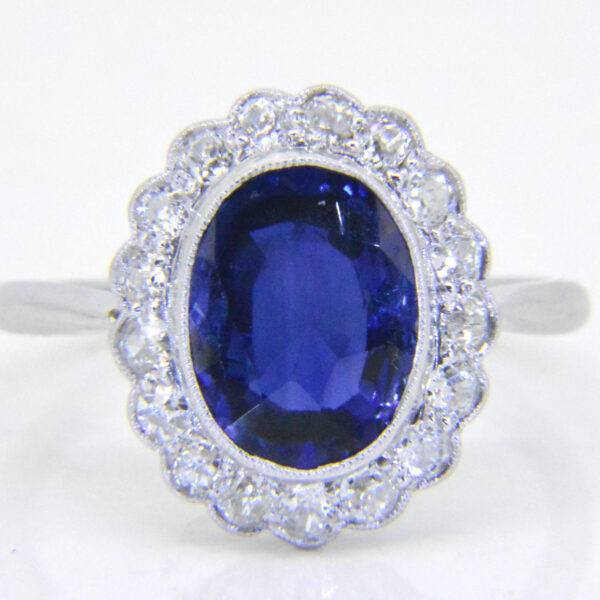 Vintage sapphire diamond oval cluster ring at Jethro Marles