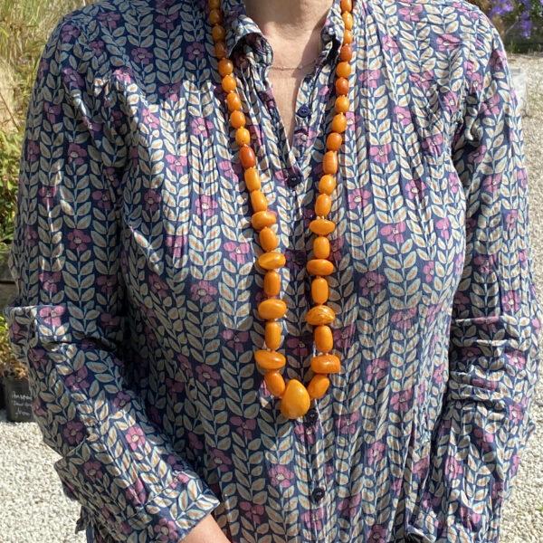 Natural Egg Yolk Amber Bead Necklace 123.7gms at Jethro Marles