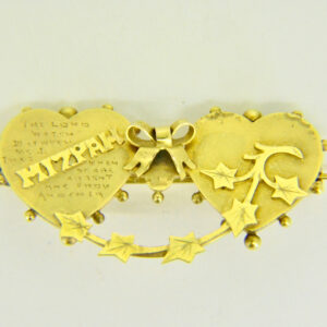 Gold mizpah brooch