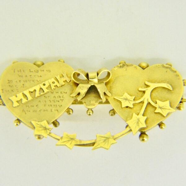 Gold mizpah brooch