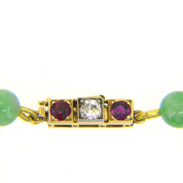 Jade bead necklace clasp