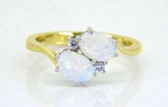 18ct opal diamond cross over ring