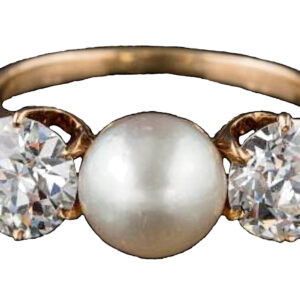 Natural pearl and diamond 3 stone ring