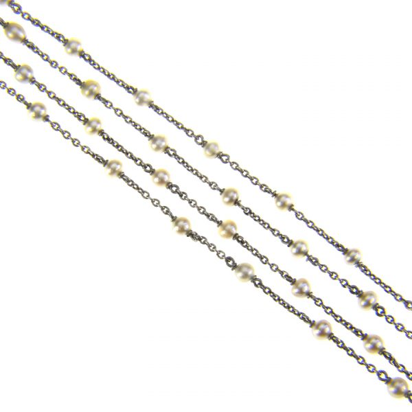 Platinum and pearl chain necklace