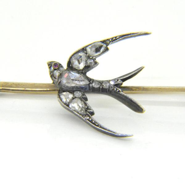 Victorian rose diamond swallow brooch