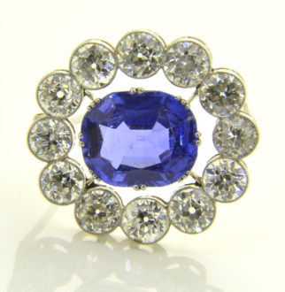 Sapphire diamond brooch backlit
