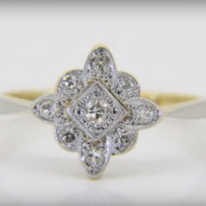 1930s diamond lozenge cluster ring