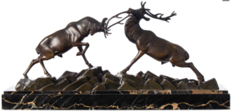 rutting stags bronze