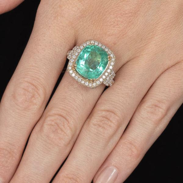 6.5ct emerald and diamond ring Jethro Marles