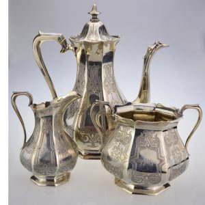 Victorian silver 3 piece coffee set