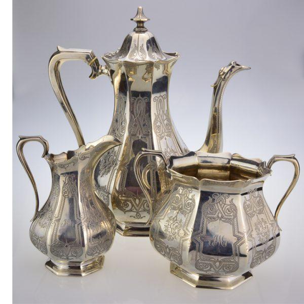 Victorian silver 3 piece coffee set