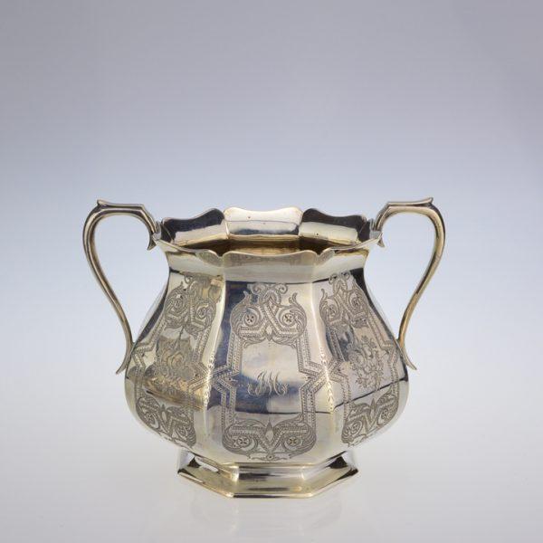 Victorian silver 3 piece coffee set sugar basin