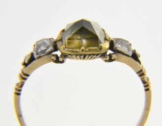 antique greenish diamond ring
