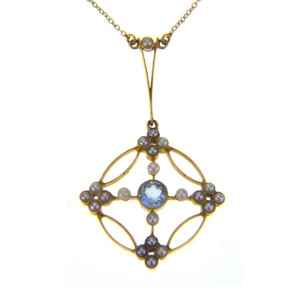 aquamarine seed pearl pendant