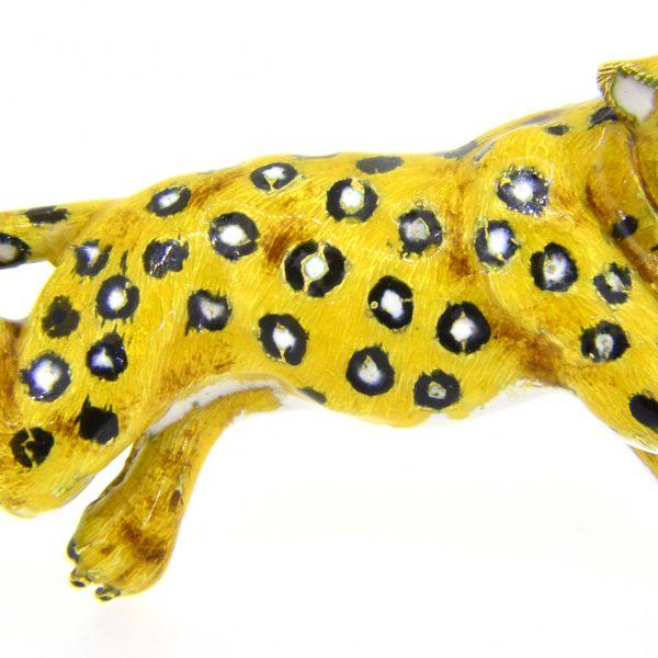 Enamelled big cat brooch