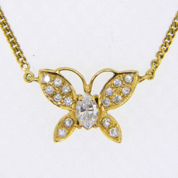 diamond butterfly pendant necklace