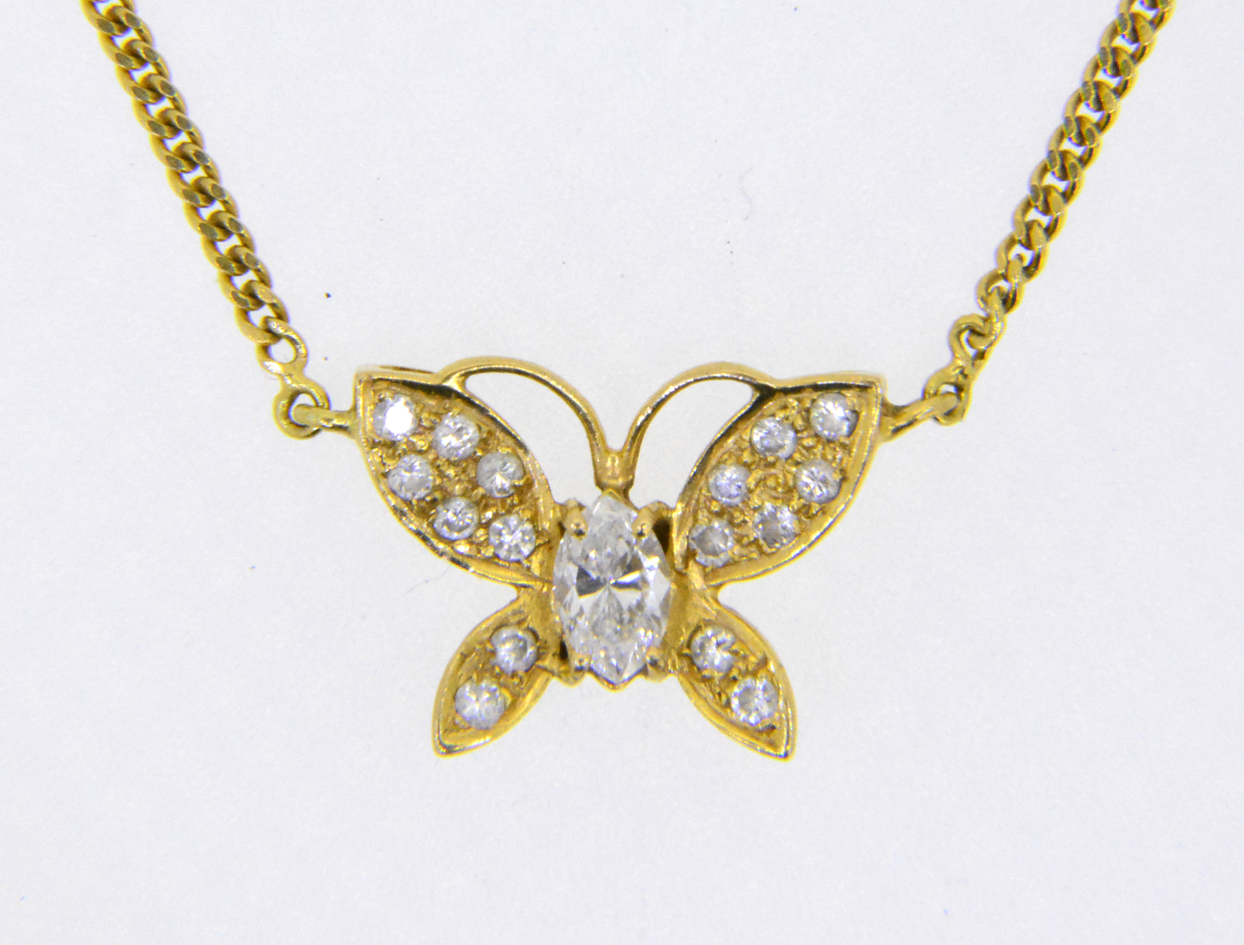 Diamond Butterfly Pendant Necklace Jethro Marles