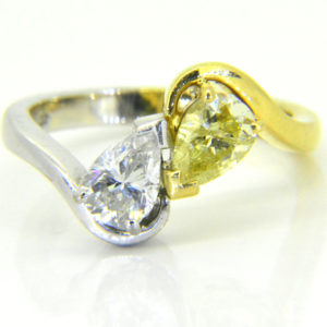 diamond and fancy yellow yin yang ring
