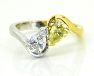 diamond and fancy yellow yin yang ring