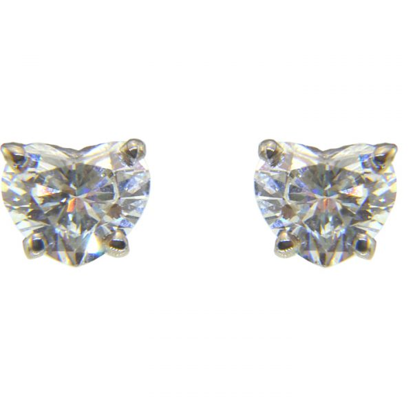 heart shaped diamond ear studs