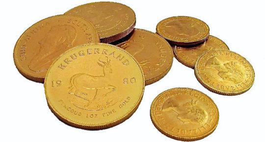 Krugerands, Sovereigns, Britannia's, USA Dollars, Mexican Pesos